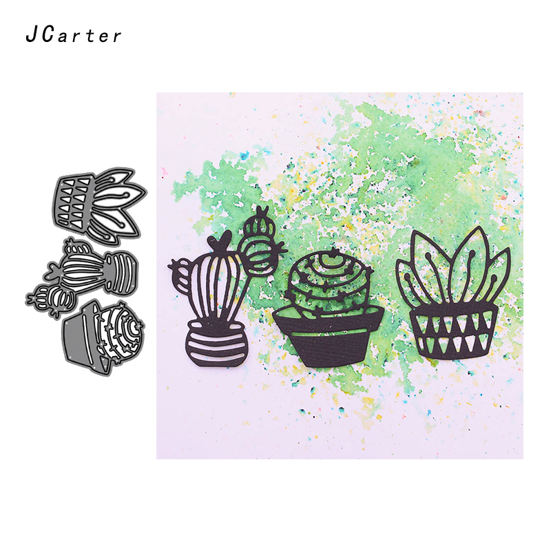 JC Metal Cutting Dies for Scrapbooking Dies Cut Cactus Potted Plant Craft Stencil Handmade Card Making Model Template Decoration in Cutting Dies from Home Garden