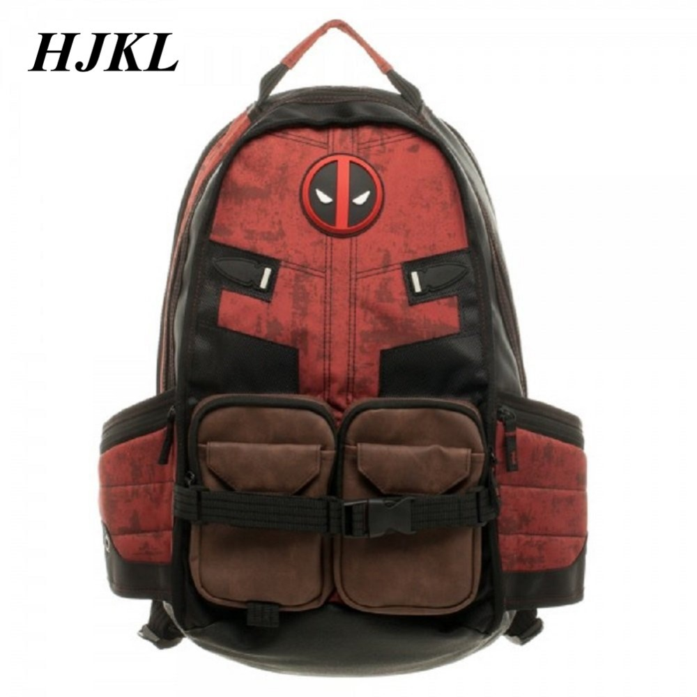 Hjkl Deadpool Marvel Comics Super Hero Movie Civil War School Bags Men Rucksack Mochila  Bag Backpacks Shoulder Crossbody