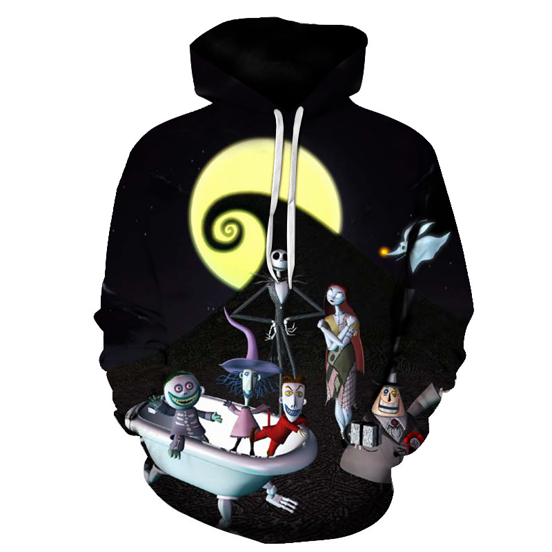 2018 New Funny Moon Skull Fashion Hoodies 3D Print Men Women Hooded Sweatshirt Pullovers Autumn Winter High Quality Tracksuit
