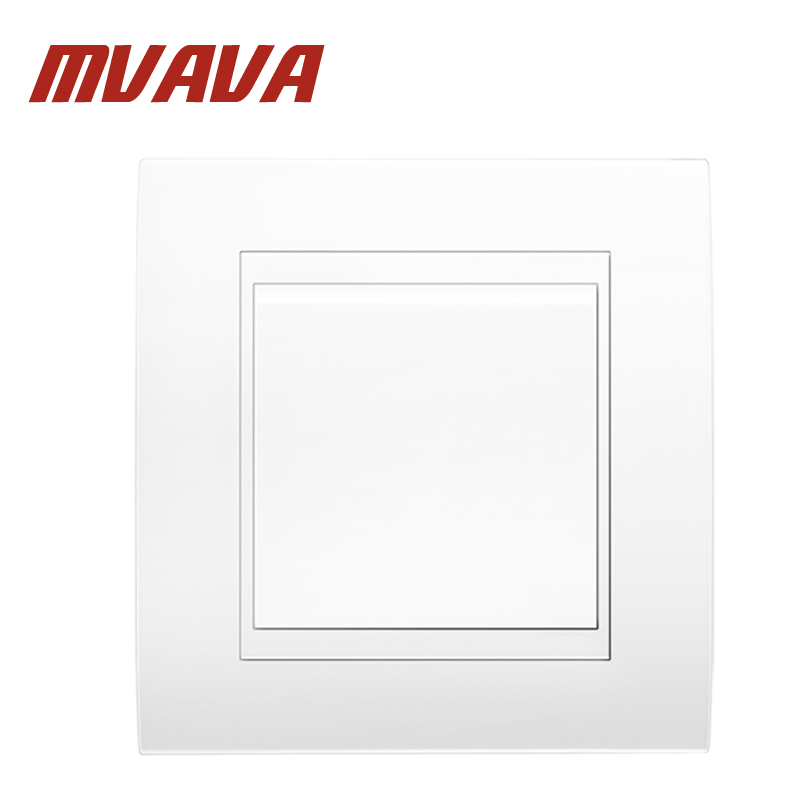 MVAVA Electrical Light Wall Switch 1 Gang 1 Way Decorative White PC Frame Panel 16A 250V 86*90MM Push Button Wall Light Switch mvava push button light wall switch 3 gang 1 way 16a 250v luxury white crystal glass panel factory direct sale free shipping