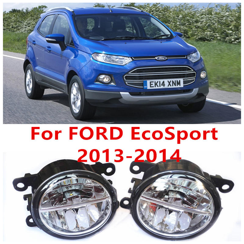For FORD EcoSport  2013-2014 Fog Lamps LED Car Styling 10W Yellow White 2016 new lights 2017 smart home us au standard wireless remote control touch light switch wall switch 3 gang black crystal glass panel with led