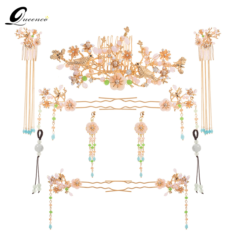 Luxury Chinese Wedding Bride Hair Jewelry Set Accessories Princess Queen Floral Hairpins Hair Combs Headdress Bridal Hair Sticks