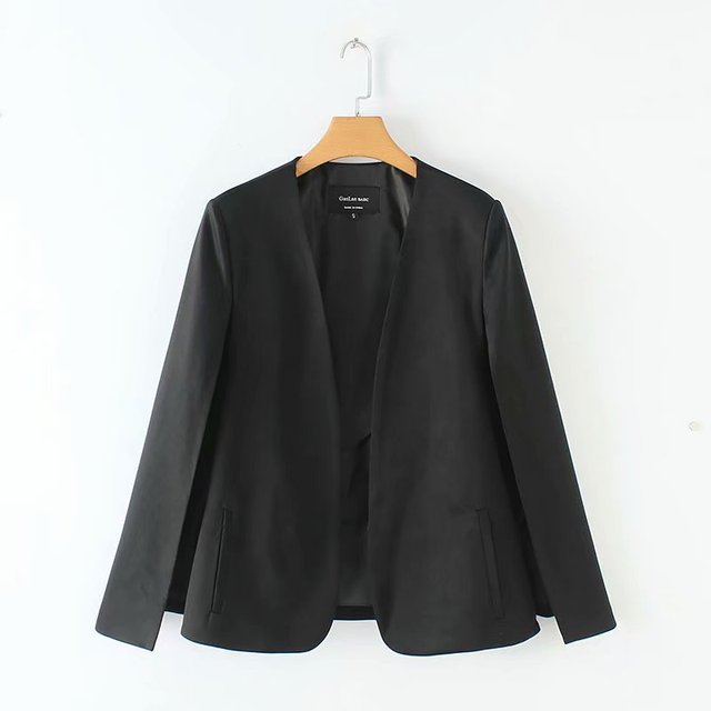 2019 Women elegant black white color v neck split casual cloak coat office lady wear outwear suit jacket open stitch tops CT237 2