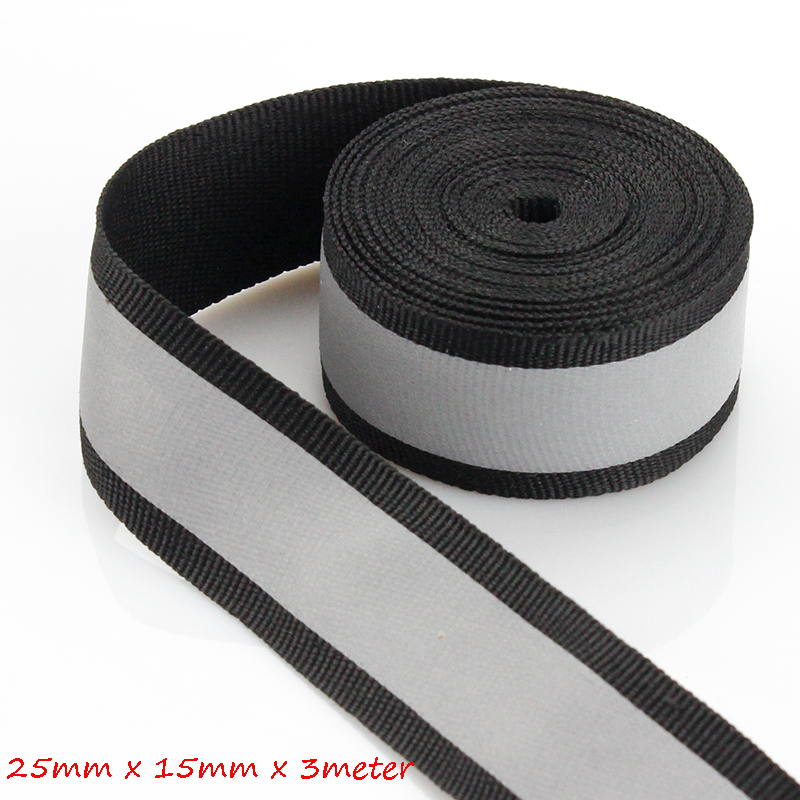 25mm*15mm(W) (3 Meters/roll) Reflective Fabric Tape Strip Edging Braid Trim Reflective Webbing Ribbon Sew On Clothes Caps Bags