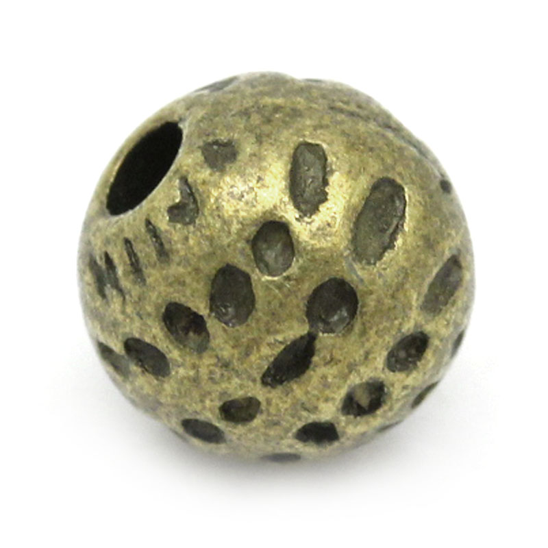 Zinc Metal Alloy Spacer Beads Ball Antique Bronze Spot Pattern Color Plated About 6mm Dia,Hole:Approx 1mm,15 PCs New