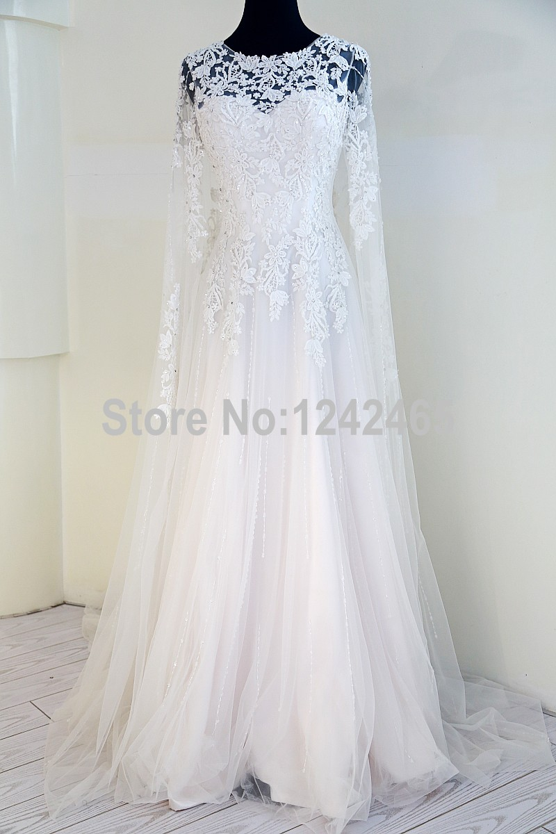 A Line Boat Neck Appliquqed Beaded Western Style Wedding Dresses ...