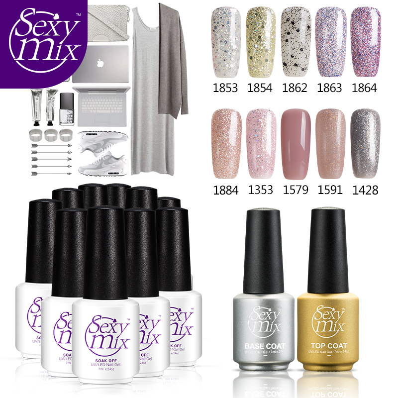 Sexy Mix 7ML 12pcs/set Soak off Nail Gel Polish use with base and top coat cure by UV Led lamps nude color nail gel varnish set цены