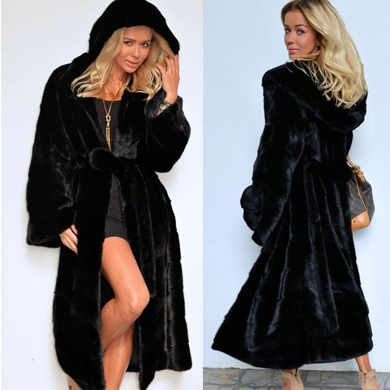 long coat  faux fur Autumn new fake hooded cotton padded plush female windbreaker