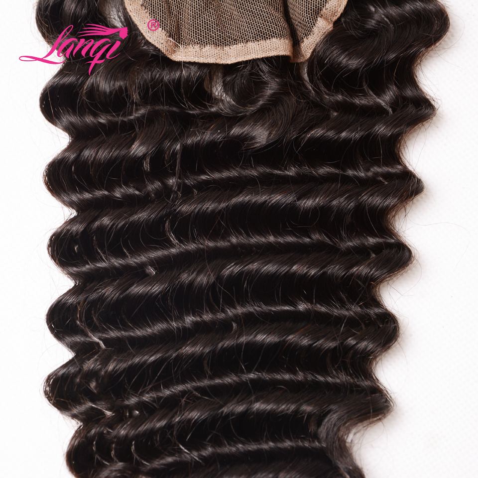 LanQi Deep Wave Lace Closure With Baby Hair Non Remy Hair Brazilian 100% Human Hair 4*4 Closure Swiss Lace