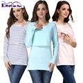 Emoción Mamás Ropa de Maternidad de Maternidad de La Raya Tops Lactancia Materna Tops Superior De Enfermería para las mujeres embarazadas T-shirt