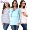 Emotion Moms Stripe Maternity Clothes Maternity Tops Breastfeeding Tops Nursing Top pregnancy clothes for pregnant women T-shirt