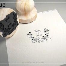 Диаметр 4,5 см заказ имя, дата персональный логотип деревянный штамп печать для DIY приглашение канцелярские Свадебные украшения