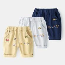 Kids Summer Shorts Children Pants Boys Cartoon Car For Elastic Waist Casual