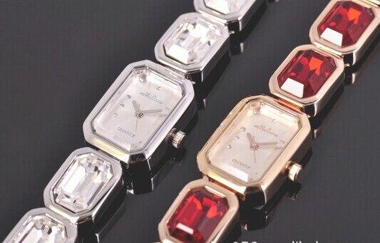 Luxury Big Czech Zircon Bracelet Jewelry Watch Quartz Elegant Lady Party Dress Wristwatch Brand MELISSA Analog Reloj Montre M123 l 10 women s stylish petals style bracelet quartz analog wristwatch golden white 1 x lr626