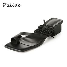 Pzilae Новая повседневная Летняя обувь женская обувь нарядные босоножки Босоножки с ремешком на лодыжке модные с перекрестной шнуровкой на не сужающемся книзу массивном каблуке женская летняя обувь 33