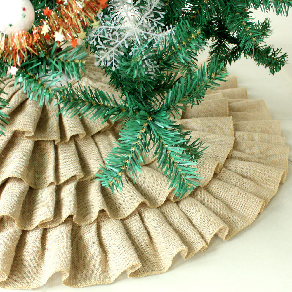 ruffler jute burlap christmas tree skirt extra large 60 diameter red border decoration p2784p2785p2786 in tree skirts from home garden on - Extra Large Christmas Tree Skirt