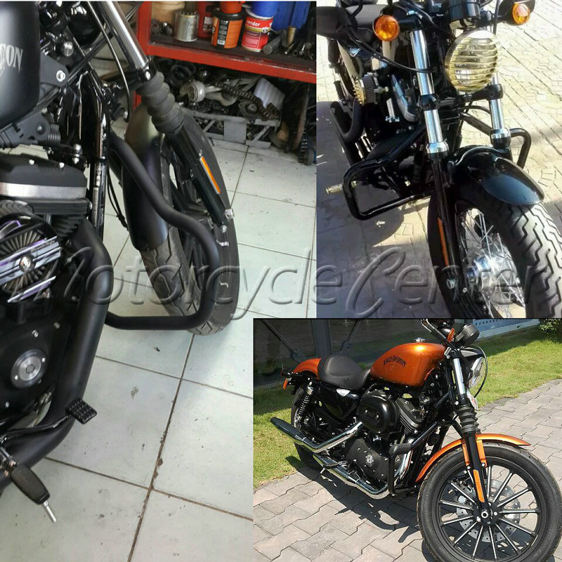 Matte Black Crash Bar Engine Guard Highway For Harley Sportster Iron 883 1200 48