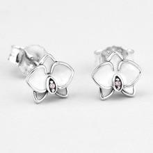 Лето 2017 г. оригинальной аутентичной 925 стерлингового серебра Белая орхидея ювелирные изделия серьги гвоздики DIY Создание Оптовая