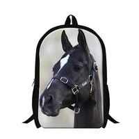 New Designer Black Ferghana horse back to school bookbags for student Animal backpacks,teen boys cool book bags,elementary bags