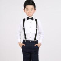 Straps+shirt+bow tie+pants)Boy Clothes Suit Kid 4 Pcs Lattice Bib overall Children Spring Autumn Formal Clothing Set For Wedding