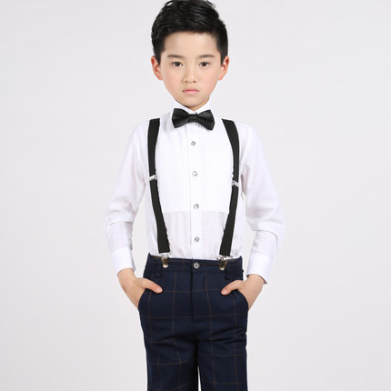 Straps+shirt+bow tie+pants)Boy Clothes Suit Kid 4 Pcs Lattice Bib overall Children Spring Autumn Formal Clothing Set For Wedding spring autumn fashion children clothes full sleeve t shirt and pants 2pcs handsome gentleman suit boy clothing set kid tracksuit