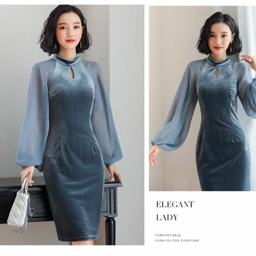 ea2117c386 ... 2019 Spring Winter Velvet Dress Women Lantern Sleeve Elegant Office  Dress Runway Party Dresses High Quality ...