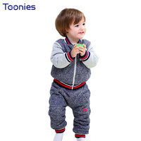 Thick Suits For Baby 2017 Winter Cashmere Toddler Clothes Cartoon Patchwork Coat Pants 2 Pcs Fashion