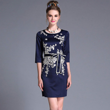 2017 L- 5XL Embroidery Belted Autumn Short Dress Plus Size Women Clothing Slim Pencil Dresses Vintage Three Quarter Sleeve