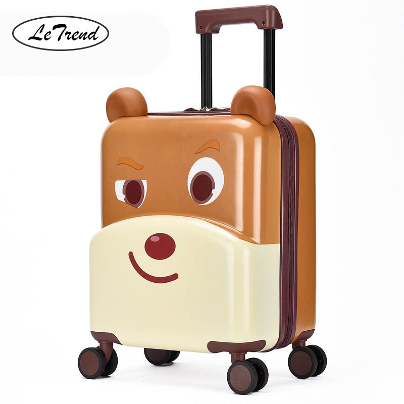 LeTrend Cute Cartoon Children Rolling Luggage Spinner Multifunction Ride sit Suitcase Wheels 20 inch Student Cabin