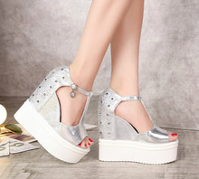 2016 summer new 14CM super-high heels rivet Slope with waterproof heavy-bottomed muffin sexy rhinestone sandals Rome