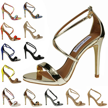 Women's shoes New arrival genuine leather cross-strap sexy open toe stiletto sandals female belt 35 – 42