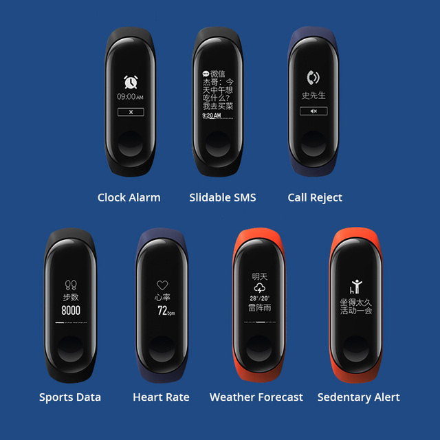 New Original Xiaomi Mi Band 3 Smart Bracelet Black 0.78 inch OLED Instant Message Call Weather Forecate