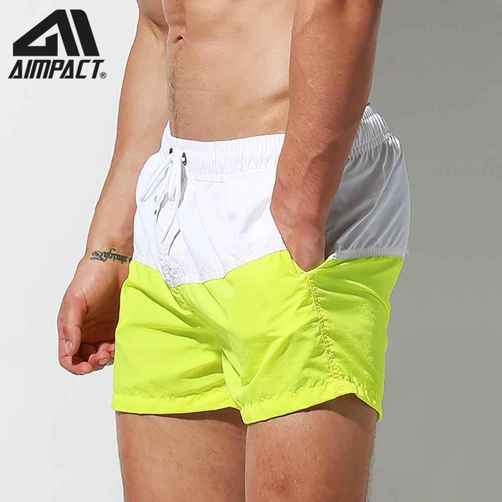 Desmiit pantalones cortos de secado rápido para hombres con forro Sexy Patchwork cordón Shorts de baño de Surf hombre vacaciones transparente pantalones de playa
