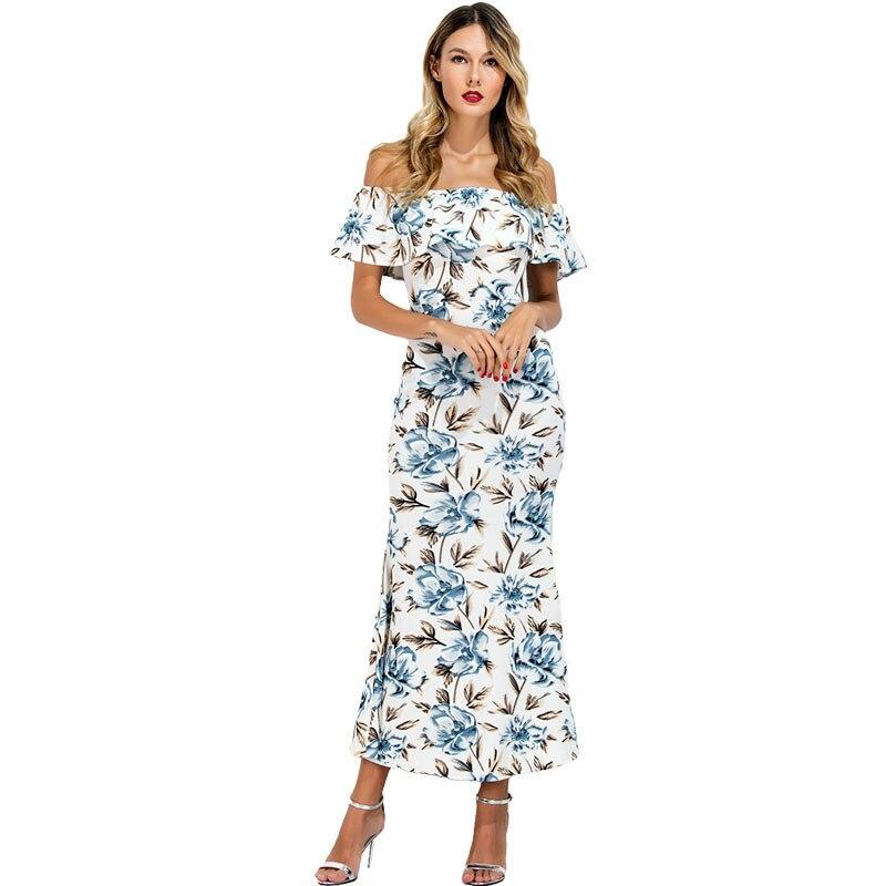 2017 Women Dress Off Shoulder Ruffle Floral Print Boho