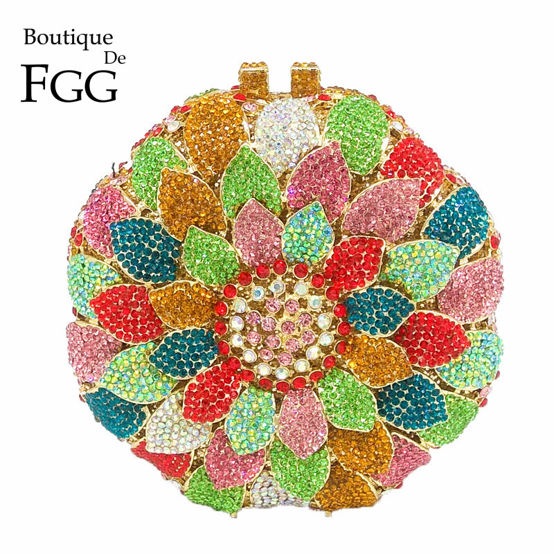 Boutique De FGG Dazzling Multicolored Flower Bud Round Crystal Clutch Bag Women Evening Bags Wedding Party
