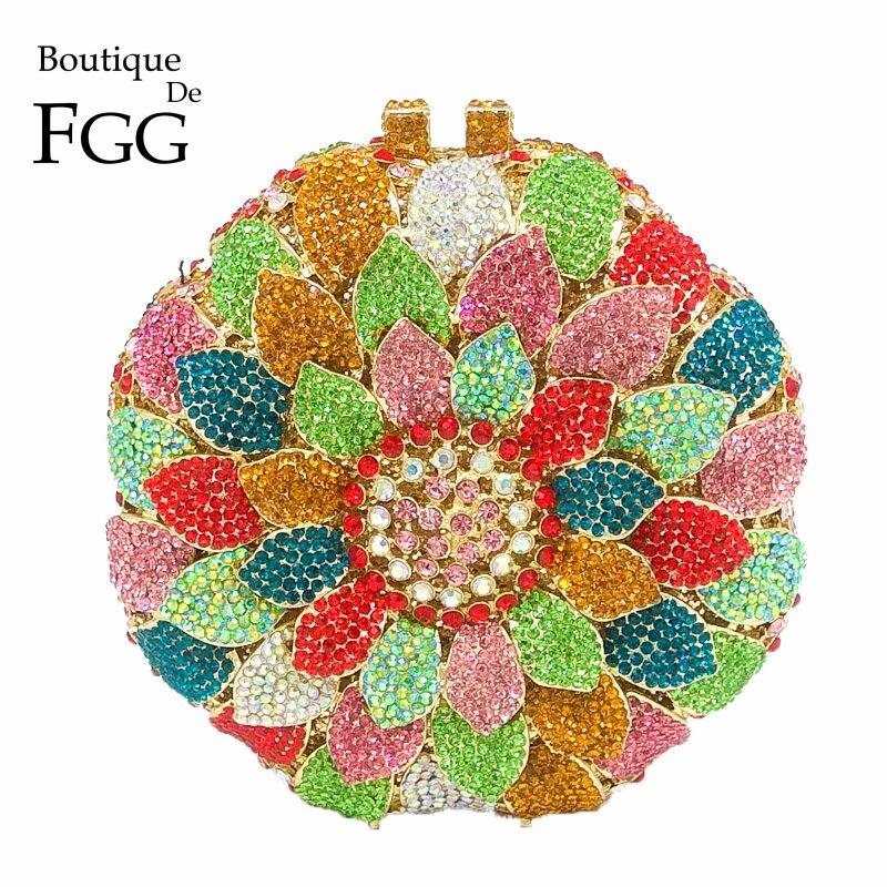 Bagaj ve Çantalar'ten Üstten Saplı Çanta'de Butik De FGG Göz Kamaştırıcı Renkli çiçek tomurcuğu Yuvarlak Kristal el çantası Kadın Akşam Çantalar Düğün Minaudiere Çanta'da  Grup 1