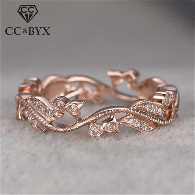 CC Vintage แหวน Cubic Zirconia Rose Gold สีแหวนแต่งงานเจ้าสาวเจ้าสาวอุปกรณ์เสริม Drop Shipping CC2258