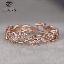 CC anillos Vintage para mujer Zirconia cúbica Rosa anillo de color dorado de novia casamiento compromiso accesorios Drop Shipping CC2258