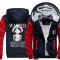Winter Warm One Piece Hoodies Anime Edward Newgate Luffy Hooded Coat Thick Zipper men casual cardigan Jacket Sweatshirt