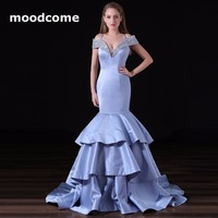 2018 Candy Kleur Prom Dresses Goedkope Mermaid Satin Tiered Ruches Pailletten Maatwerk Plus Size Formele Evering Toga