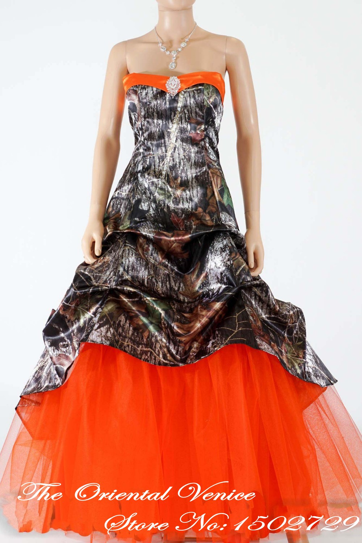 mossy oask hunter orange camo wedding dress 2017 new style camouflage wedding gowns bridal dresses lace