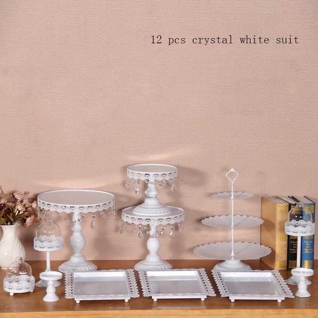 12 pieces lot white cake stand wedding cupcake stand set glass dome crystal candy bar