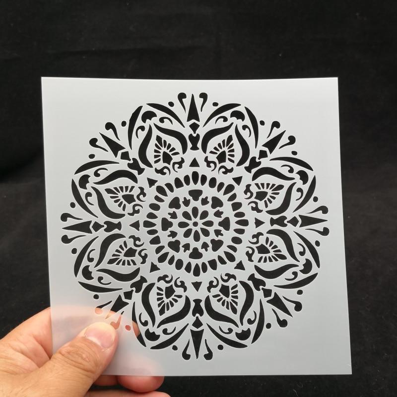 15*15 Vintage Flower Pvc Layering Stencils For Diy Scrapbook Coloring,painting Stencil,home Decor Diy Etc. Product Image