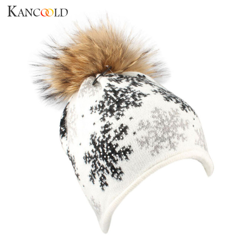 Winter Snowflake Fur Wool Knit Beanie women Snow Ski Crochet Hat new Warm  pompom Beanie girls Caps Pom Knitted Hats Cap OC30A-in Skullies   Beanies  from ... 2e7d63b67472