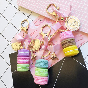 Image 1 - 10pcs/lot Girls Fashion Jewelry Keychains Macaroon Cake Model Pendant Key Ring Bags Ornament Keychain For Women Accessories
