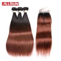 Allrun 3 חבילות T1B/33 צבע שיער אדם ישר הסיני עם 4*4 סגירת תחרה משלוח חינם 4 יח'\חבילה אי רמי שיער הארכת