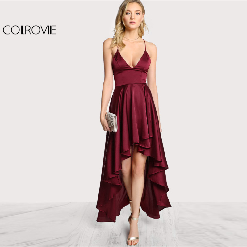 COLROVIE 2017 Party Dress Deep V Neck Spaghetti Strap Sleeveless Maxi Dress Asymmetrical Crisscross Backless High Low Cami Dress