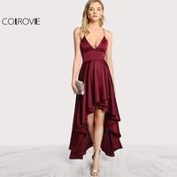 COLROVIE 2017 Party Dress Deep V Neck Spaghetti Strap Sleeveless Maxi Dress Asymmetrical Crisscross Backless High