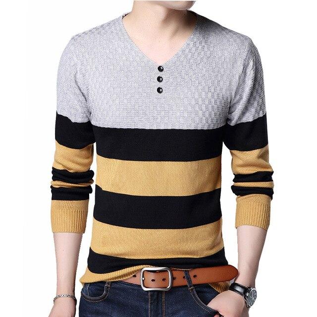 2018 Casual Pullover Männer V-ausschnitt Gestreiften Slim Fit Männer Lange Hülse Patchwork Männlichen Pullover Pullover Kleidung LESBAR