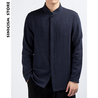 Sinicism Store Mens Designer Solid Button Shirts 2018 Cotton Linen Casual Shirts Men Long Male Chinese Fashions Autumn Clothing